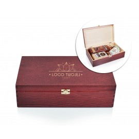 Drewniane pudełko, skrzynka prezentowa z logo