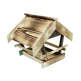 Drewniany karmnik dla ptaków opalany