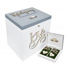 Szare pudełko na koperty ślubne i obrączki