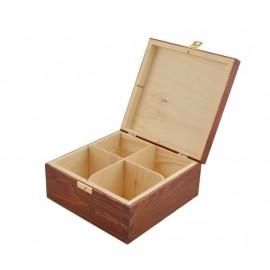 Drewniane PUDEŁKO na herbatę 4 orzechc