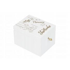 Drewniana skarbonka dziecko prezent XXL biała - Grawerowane prezenty i dodatki ślubne Grawernia24