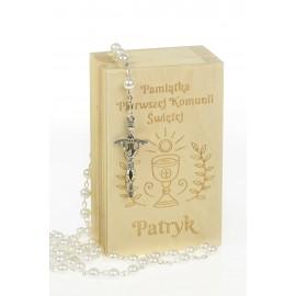 Pudełko na różaniec w kolorze naturalnym - Grawerowane prezenty i dodatki ślubne Grawernia24