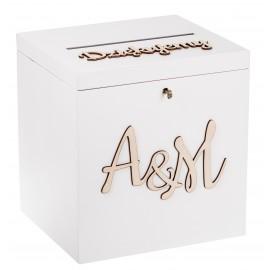 Biała skrzynka na koperty ślubne z kluczykiem