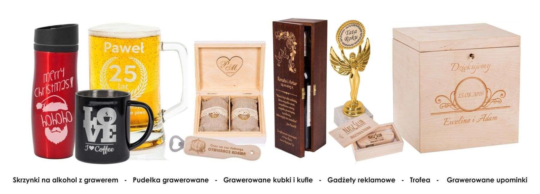 Grawernia24 ofertuje profesjonalne grawerowanie skrzynek na alkochol, pudełek, kubków i kufli, gadżetów reklamowych, umoinów i trofea
